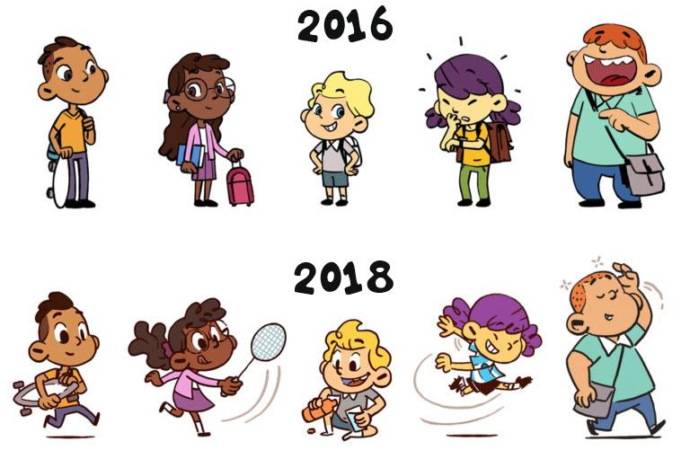 Nicolas a créé une palette de personnages pour la nouvelle ligne éditoriale. Voici les cinq personnages des expo-quiz® junior en 2016, puis en 2018.