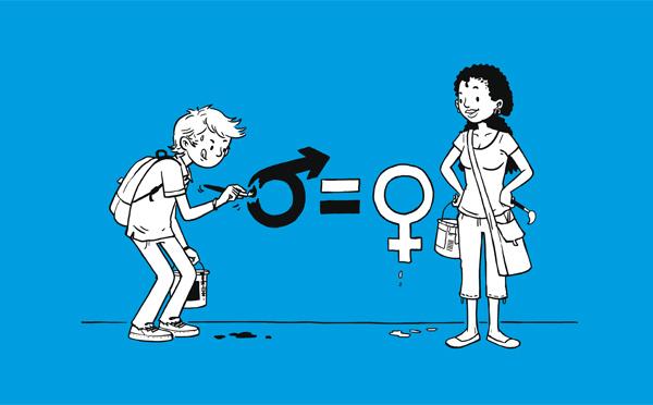 L'un des objectifs de cette exposition support d'échanges et de réflexions est de sensibiliser les publics à la problématique complexe de l'égalité entre filles et garçons.
