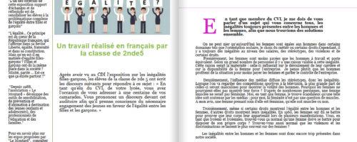 11Début 2018, le lycée Jean Puy à Roanne (42) a accueilli l'expo-quiz® « Égalité filles-garçons, parlons-en ! ». Les élèves de 2nde 5 ont écrit des discours sur l'égalité filles-garçons et les ont rassemblés dans un numéro spécial du journal de leur lycée.