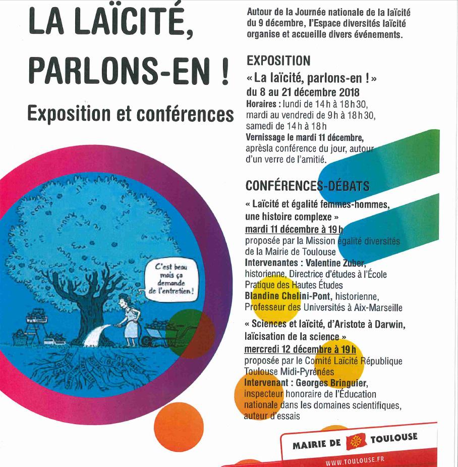 """11Notre nouvelle expo-quiz®, """"La laïcité, parlons-en !"""", sera exposée du 8 au 21 décembre 2018 à l'Espace diversités laïcité de la Mairie de Toulouse (31)."""