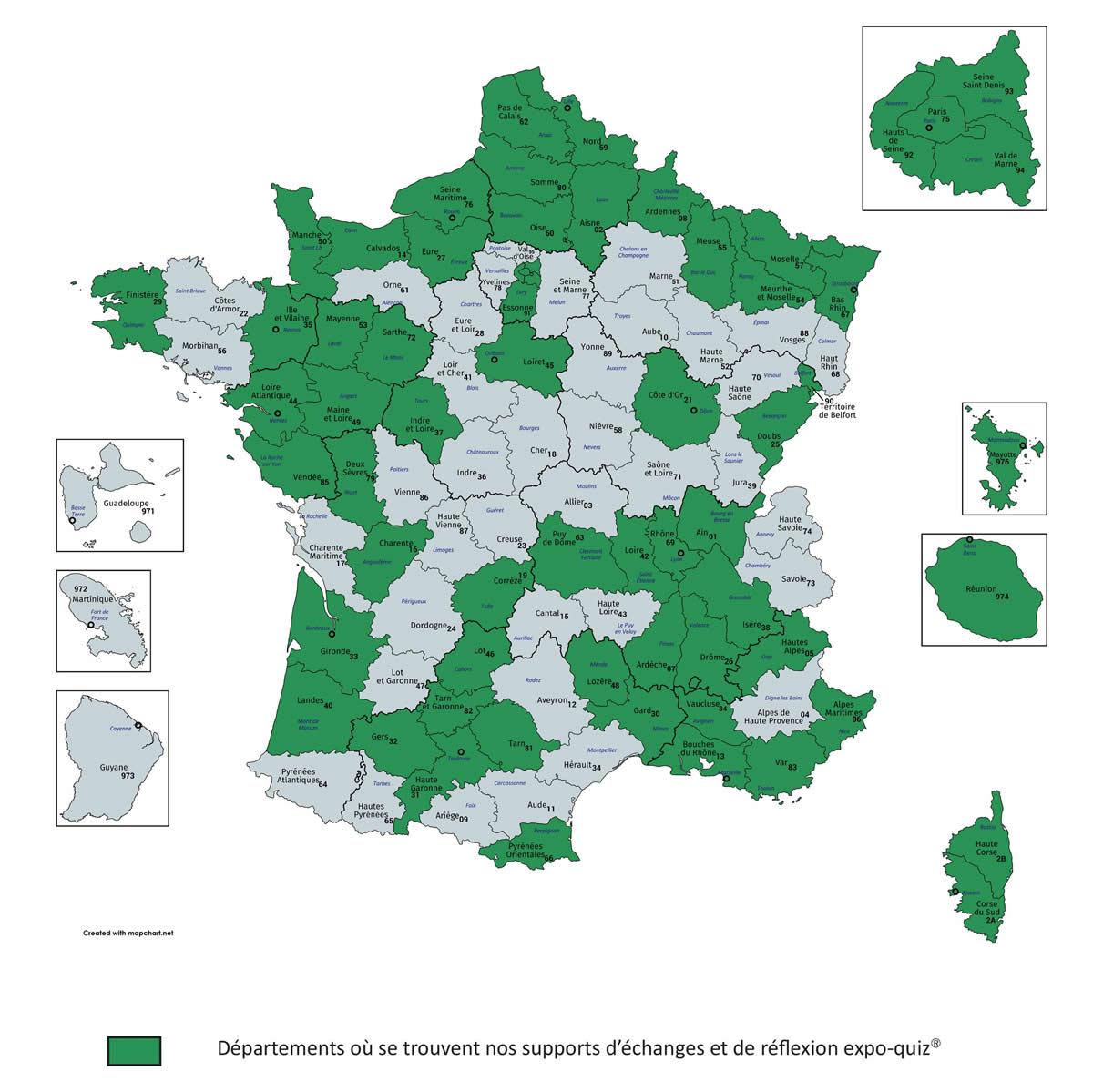 Présence territoriale des expo-quiz® physiques : 60 départements au 30 novembre 2020